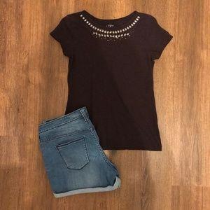 Loft Purple Jeweled Accent Tee-Shirt Size SP
